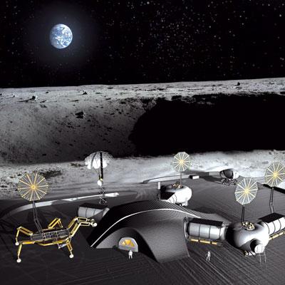 Fig. 5: 3D printed moon base (Source: www.dezeen.com)