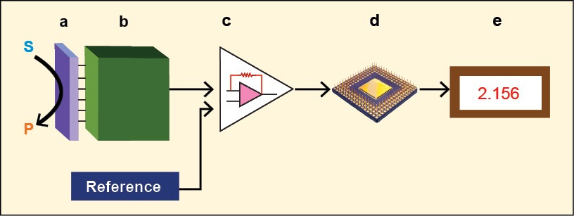 Fig. 1: Schematic diagram showing the main components of a biosensor. The biocatalyst (a) converts the substrate to product. This reaction is determined by the transducer (b), which converts it to an electrical signal. The output from the transducer is amplified (c), processed (d) and displayed (e)