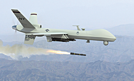 Predator drone—an unmanned aerial vehicle firing missile