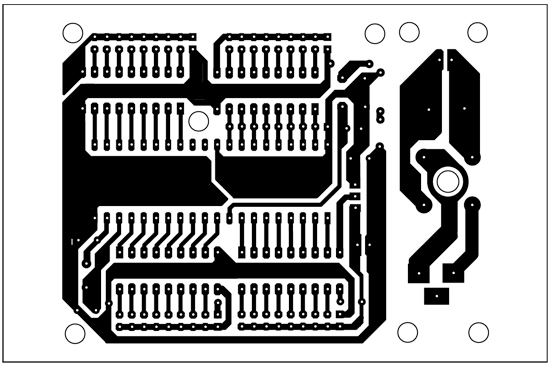 Fig. 4: An actual-size, single-side PCB for microcontroller-based dynamic display using LED strip
