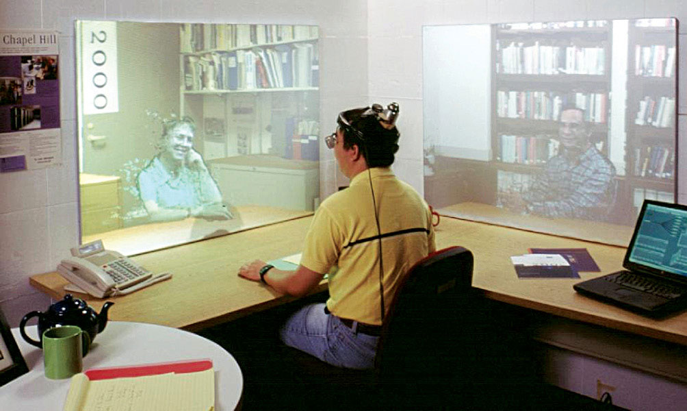 Fig. 2: A tele-immersive session in progress (Source: www.advanced.org/tele-immersion/news.html)