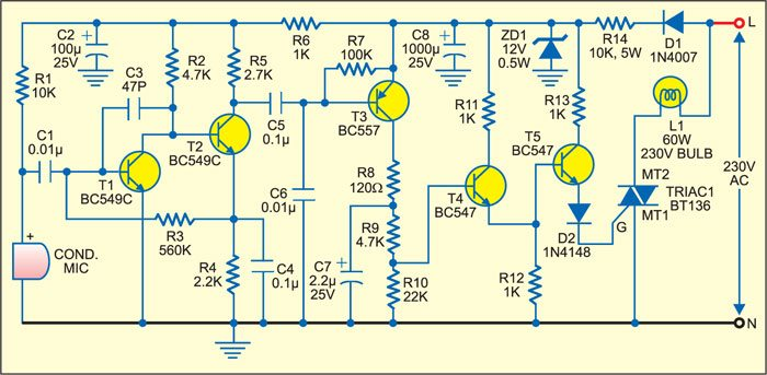 sound operated lamp switch circuit