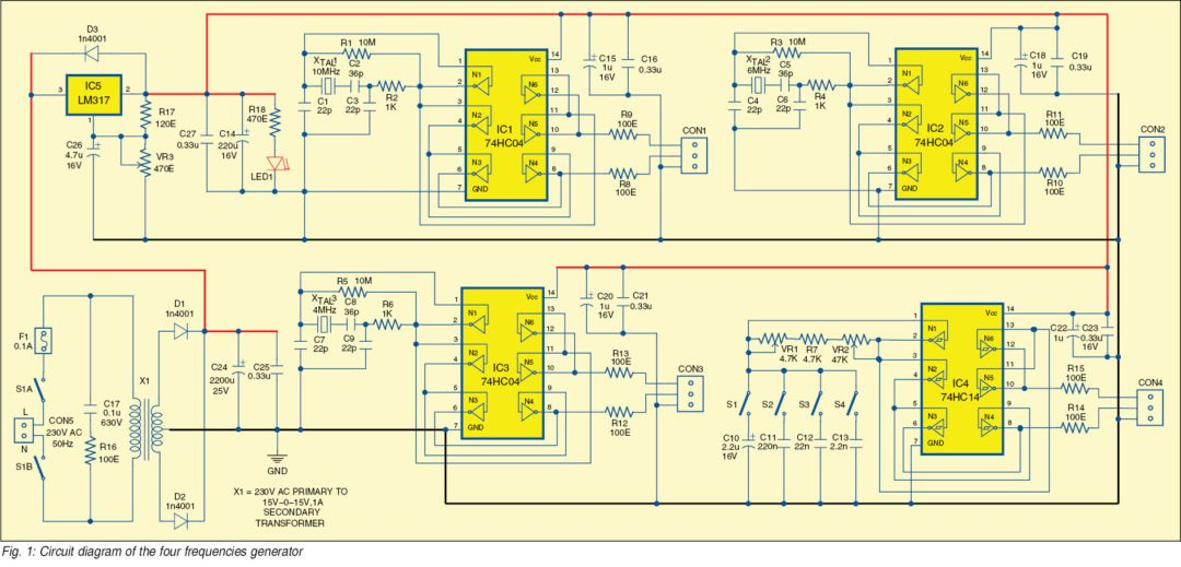 Four Frequencies Generator Circuit