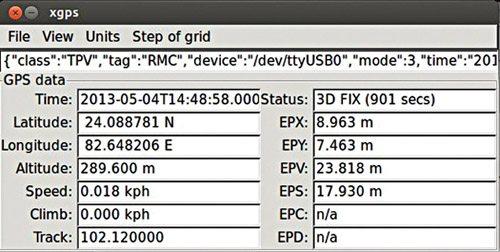 Fig. 6: GPS data in xgps