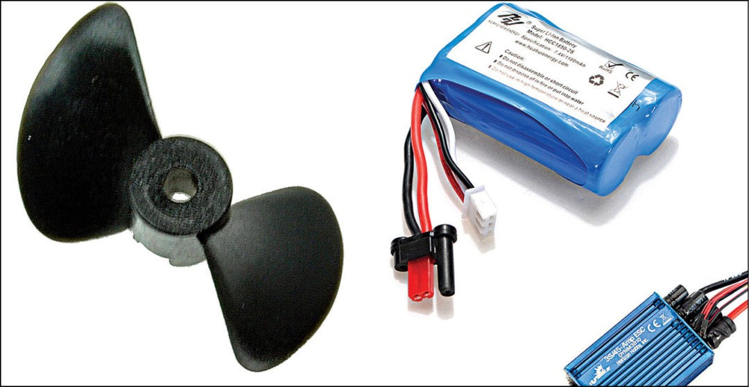 Fig. 5: Propeller, battery pack and electronic speed control (ESC)