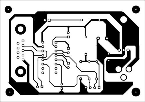 Fig. 5: An actual-size, single-side PCB for the PC-based GPS receiver