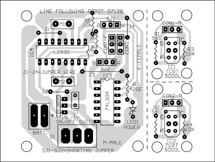 Fig. 4: Component layout for the PCB of Fig. 3