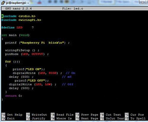Fig. 3: Code in nano editor