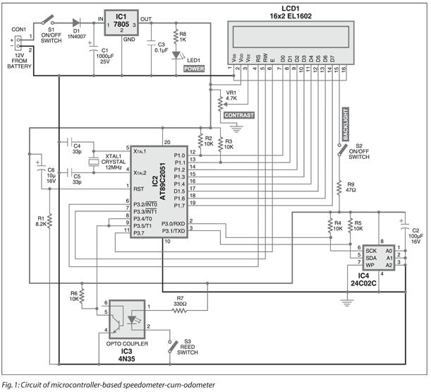 Microcontroller Based Speedometer cum Odometer