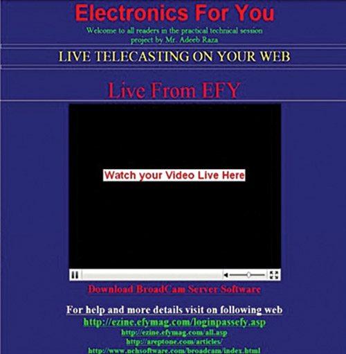 Fig. 9: Live telecasting on Web server