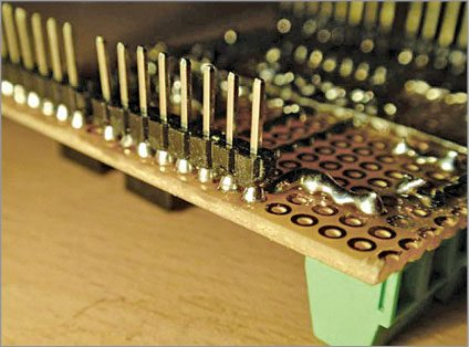 Fig. 7: Berg strip soldering on trackside of the PCB