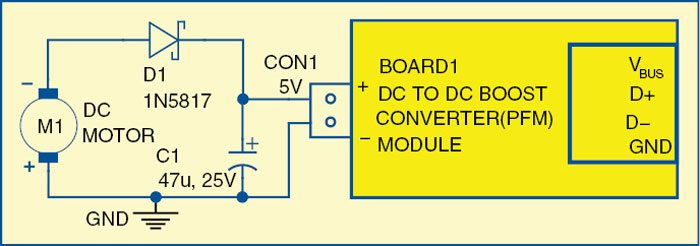 Fig. 4: Circuit diagram for deriving 5V from the