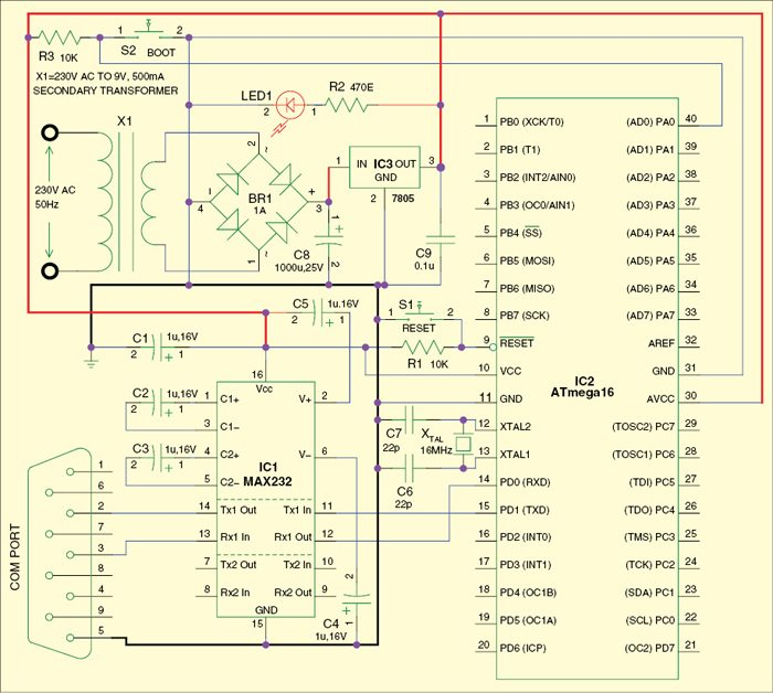 Fig. 2: Circuit to program the microcontroller using the bootloader