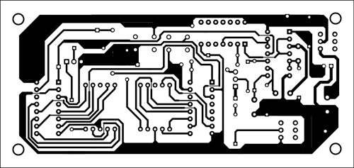 Fig. 3: An actual-size, single-side PCB for the distance counter