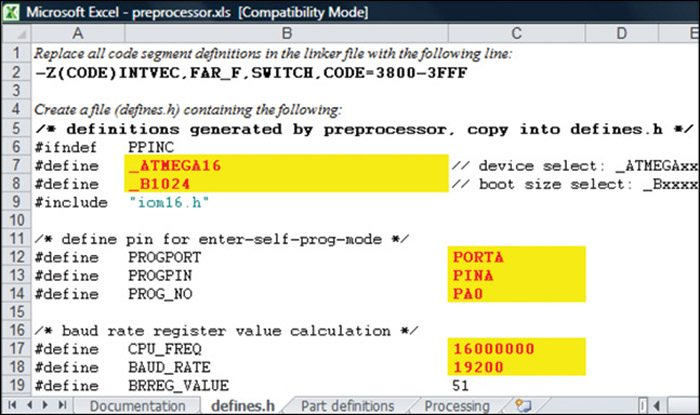 Fig. 5: Editing the pre-processor.xls file on the defines.h tab