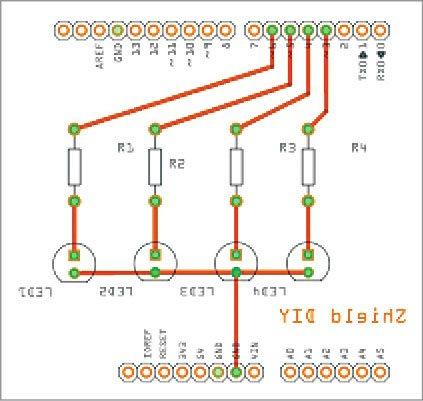 Fig. 5: Arduino shield single-side PCB