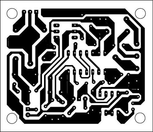 Fig. 3: An actual-size, single-side PCB for the anti-carjack system