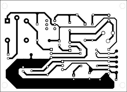 Fig. 3: An actual-size, single-side PCB for Arduino-based shadow alarm