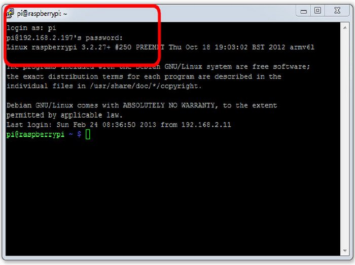 Fig. 1: An example of remote connection to Raspberry Pi using SSH. The red box shows the login details and IP address of Raspberry Pi