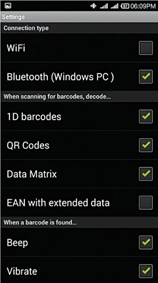 Fig. 5: QR/Barcode Scanner: Xiaomi Redmi 1S screenshot