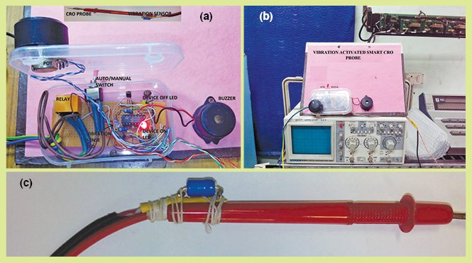 Fig. 1: Author's prototype: (a) internal part of the prototype, (b) prototype with CRO and (c) vibration sensor with CRO probe