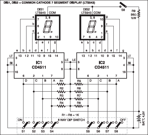 Fig. 1: Number guessing game circuit
