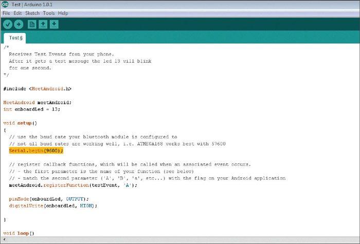 Fig. 3: Arduino 'test' program code