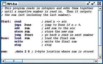 Sample assembly language