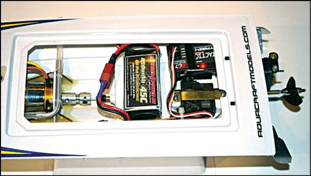 Fig. 3: Near-finished DIY kit of the RC boat without the top shell and water-tight covers