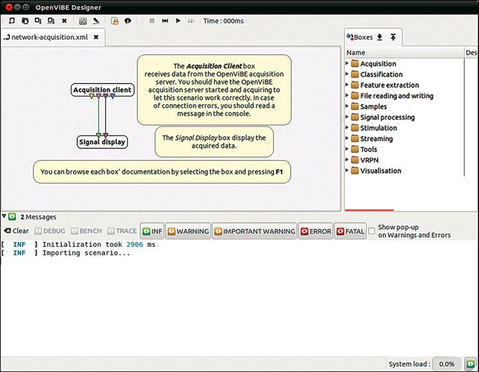 Fig. 1: OpenViBE Designer with tabbed interface and graphical language