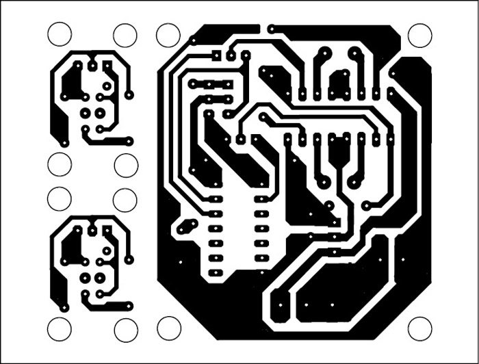 Fig. 3: An actual-size, single-side PCB for the line follower robot