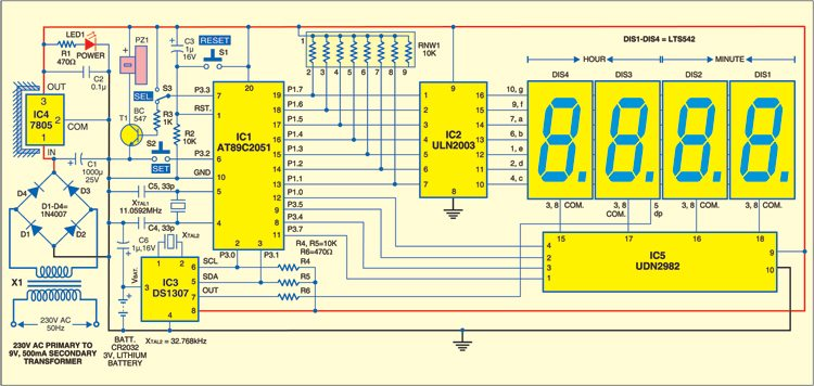 Fig. 1: Circuit of microcontroller based clock using DS1307