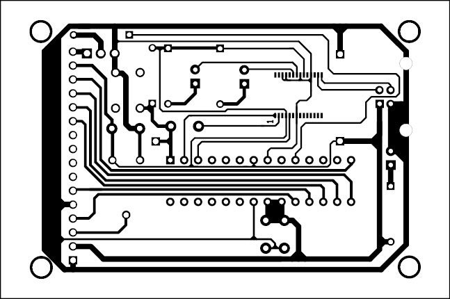 Fig. 4: An actual-size, single-side PCB layout for the postfix calculator