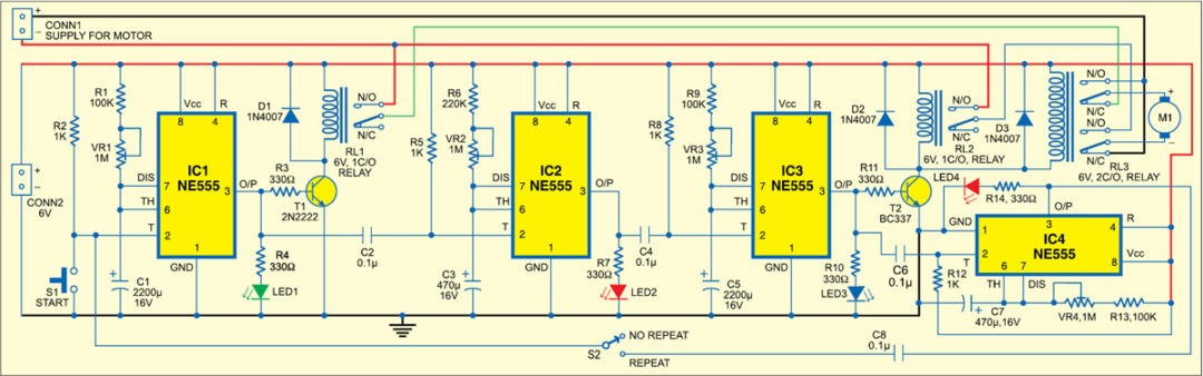 Fig. 2: Circuit of sequential timer for DC motor control