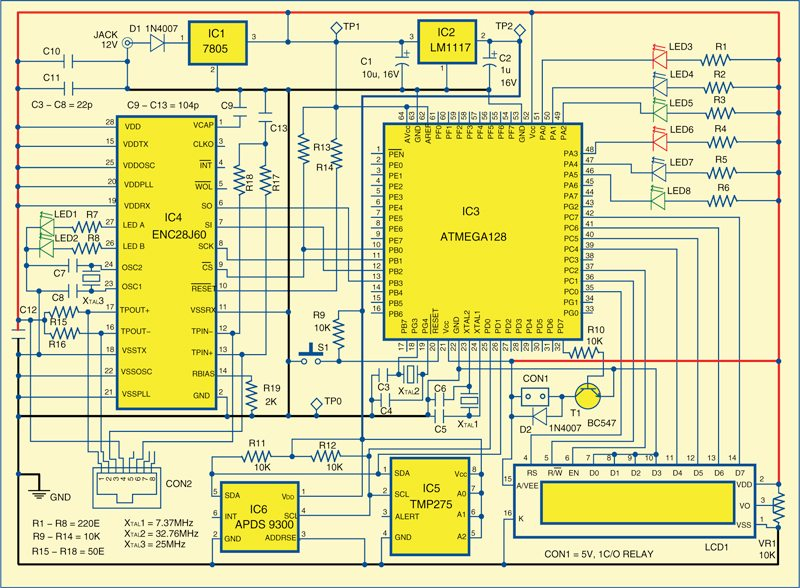 Fig. 3: Circuit built around microcontroller ATmega128