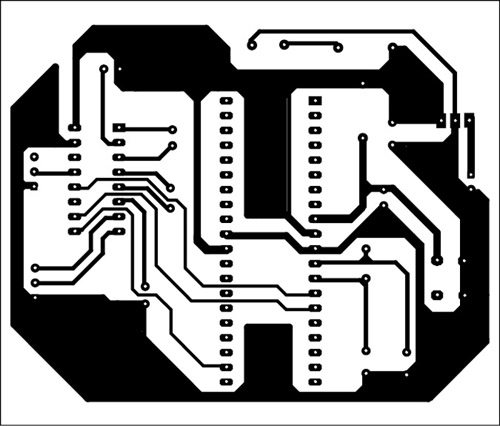 Fig. 5: An actual-size, single-side PCB for the GPS- and GSM-based vehicle tracking circuit