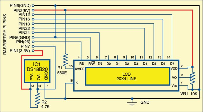 Fig. 3: Connection scheme for multifunction LCD clock with Raspberry Pi