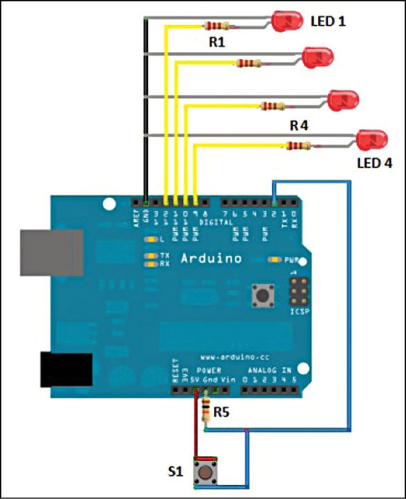Fig. 2: Fritzing image of fancy lights controller