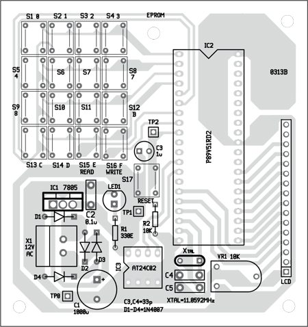 Fig. 3: Component layout for the EEPROM Interface PCB Schematic