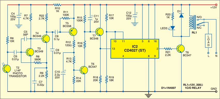 Optical remote switch: Receiver circuit
