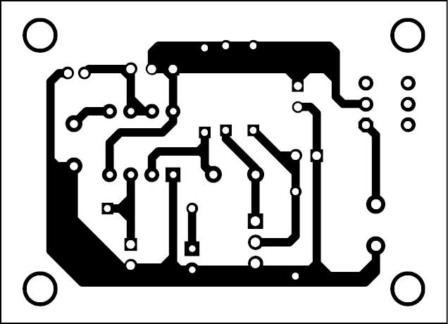 Fig. 2: Actual-size PCB of the glass break alarm