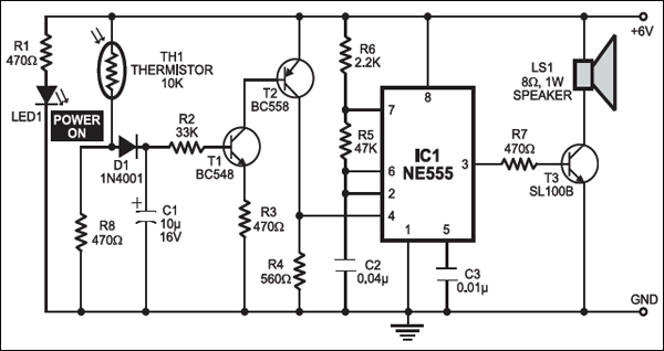 fire alarm using thermistor  full circuit diagram available