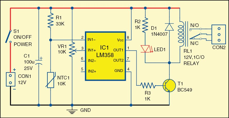 Fig. 1: Circuit of the over-heat detector