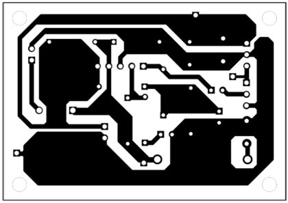 Fig. 5: An actual-size, single-side PCB for the receiver amplifier