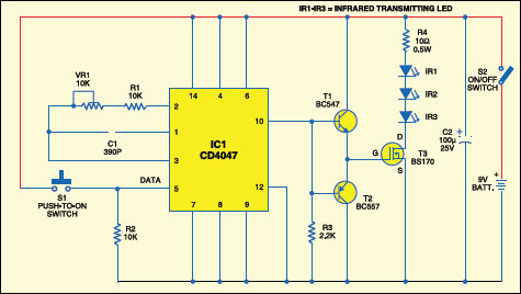 Fig. 1: Circuit of the long range IR transmitter