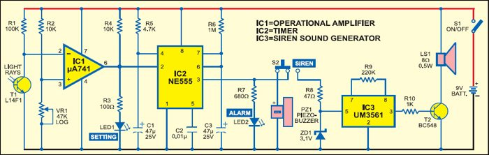 Light Sensitive Alarm Circuit
