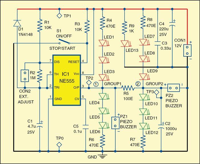 Fig. 1: The versatile audio-visual alarm circuit