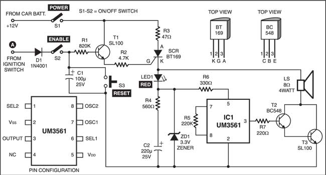 anti-theft alarm circuit