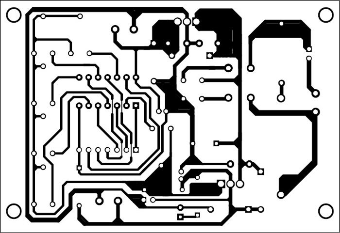 Fig. 2: An actual-size PCB layout of the low-cost 6-bit DAC