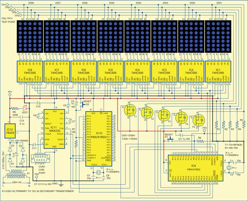 Fig. 3: Circuit of GSM-based dot-matrix display